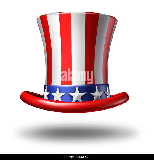 American hat icon as a stars and stripes symbol on a white background as a concept for patriotism in America and - Stock Image
