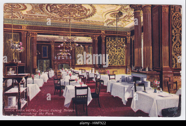 Hyde Park Hotel, London, United Kingdom, Grand Dining Saloon overlooking the Park - Stock Image