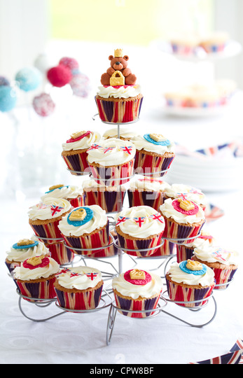 Diamond Jubilee cupcakes - Stock-Bilder