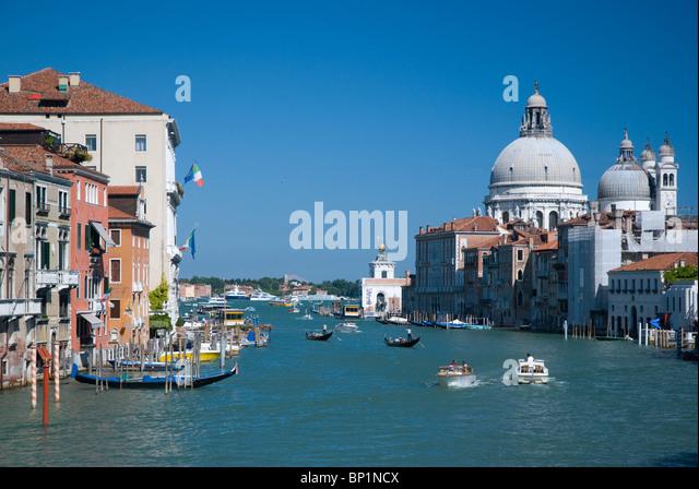 Grand canal and Santa Maria della Salute, Venice, Italy - Stock Image