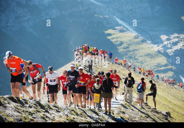 Jungfrau marathon, Bernese Oberland, Switzerland, Europe - Stock Image
