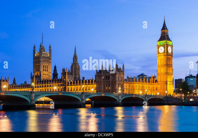 London, parliament building at Dusk - Stock Image