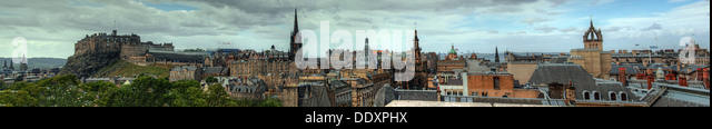 Panorama across city of Edinburgh from castle to St Giles Kirk, Royal Mile, Scotland, UK - Stock Image