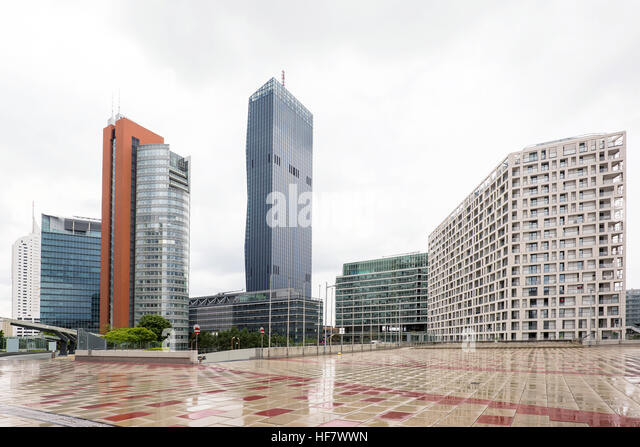 View on financial district with tall buildings and business centres in vienna, austria - Stock Image