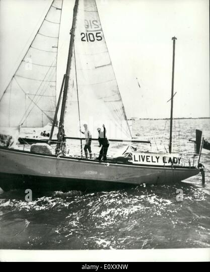 Jan. 01, 1968 - Alec Rose leaves Australia on the second half of his voyage around the World in ''Lively - Stock Image