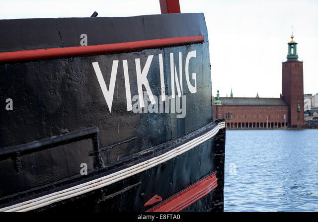 Viking boat Stockholm City Hall - Stock Image