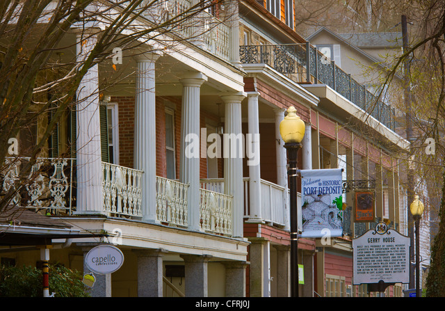 Main Street businesses, Port Deposit, Maryland, on the Susquehanna River, Cecil County - Stock Image