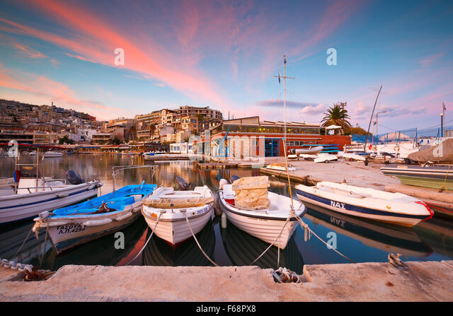 Boats mooring in Mikrolimano marina in Athens, Greece - Stock Image