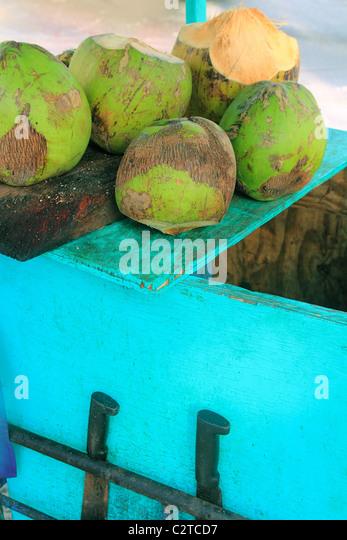 Coconut juice water traditional cart tropical beach - Stock-Bilder