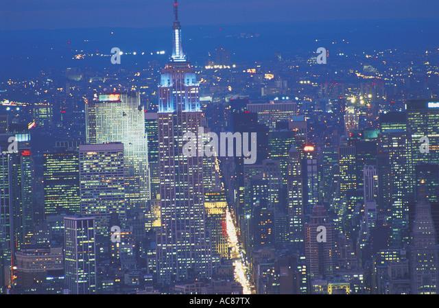 Night cityscape of New York USA - Stock Image