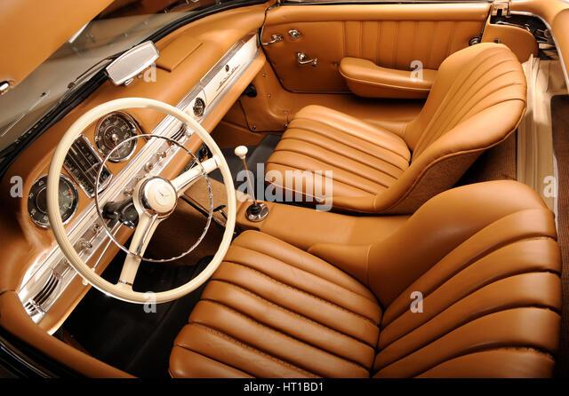 Mercedes Benz 300 SL roadster 1958. Artist: Simon Clay. - Stock Image