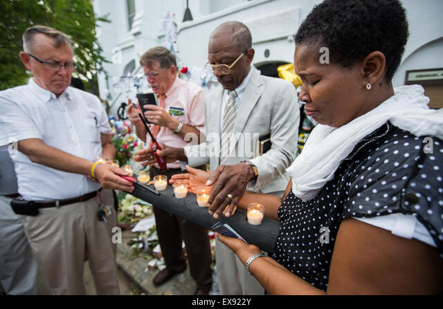 Memorial service in front of Emanuel AME Church in Charleston, S.C. - Stock Image