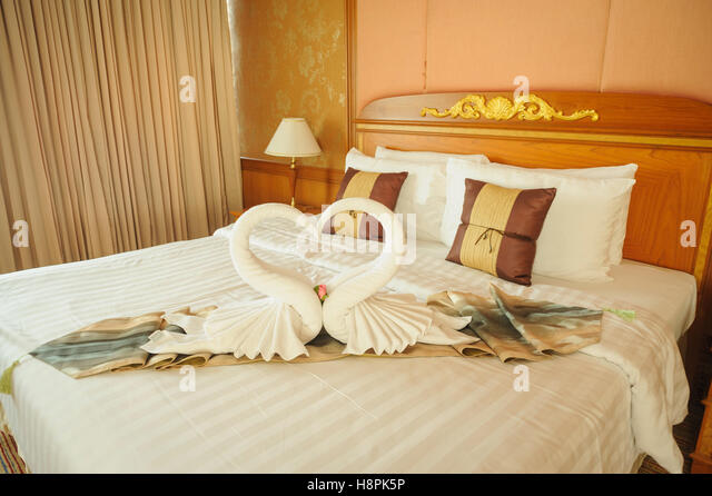 Bedroom ready for bridal pair in honeymoon. - Stock Image