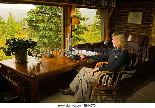 Guest relaxes inside her cabin & enjoys the view at Camp Denali Lodge, Denali National Park, Alaska - Stock Image
