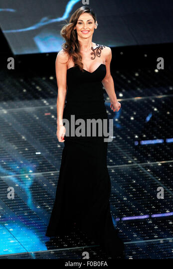 SANREMO, ITALY - FEBRUARY 14: Singer Anna Tatangelo performs on the stage of the 65th Sanremo Song Festival at the - Stock Image