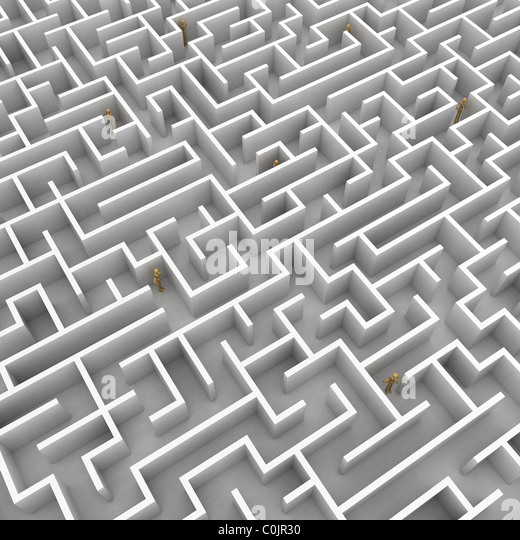 A team of mannequins is stuck in a big maze - Stock Image