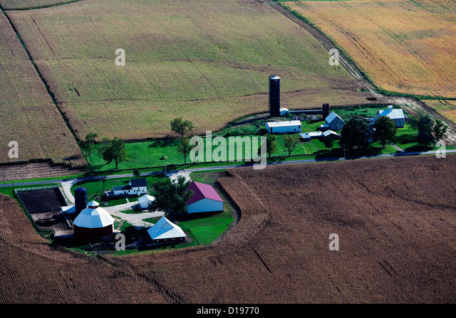 aerial photograph farm western Illinois near Moline - Stock Image
