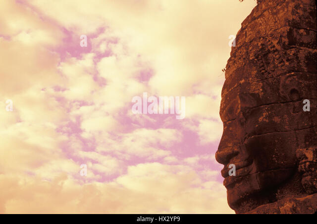 Buddha statue in profile at the Bayon temple. Siem Reap, Cambodia - Stock Image