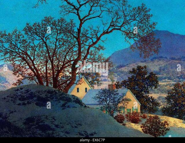 Maxfield Parrish  Early Morning, First Snow - Stock Image
