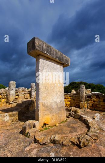 Menorca Taules Torralba de en Salort Salord prehistoric sanctuary in Balearic islands - Stock Image