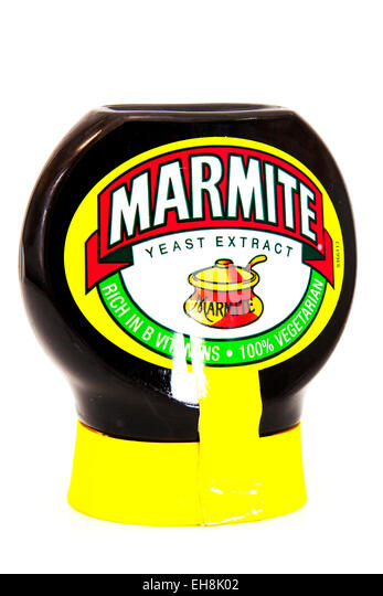 Marmite yeast extract spread love it hate additive drink jar logo product cutout white background copy space isolated - Stock Image