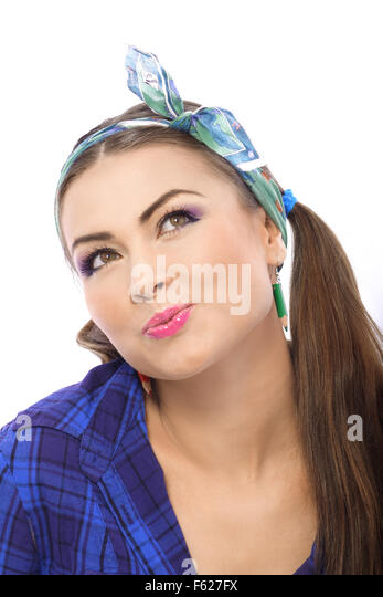 The young girl was contemplating the repair of an apartment. - Stock Image