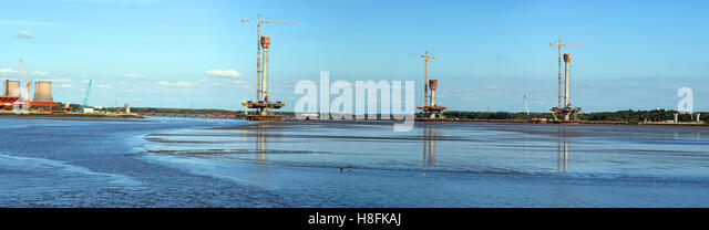 Panorama of new Mersey gateway bridge,being built, Runcorn, Cheshire, England,UK - Stock Image