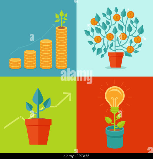 Growth concepts in flat style - illustrations related to progress and development - Stock Image