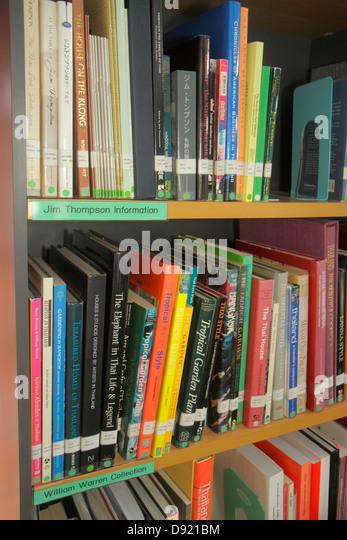 Thailand Bangkok Pathum Wan Jim Thompson House museum library books - Stock Image