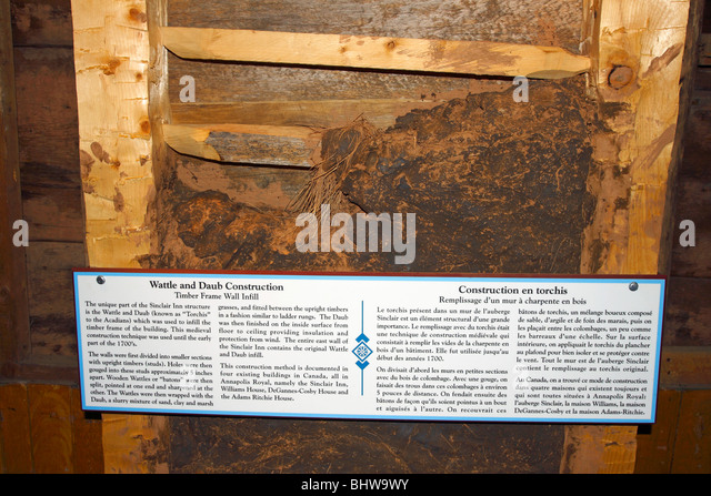 Wattle and Daub wall construction in the oldest wooden building in Canada, the Sinclair Inn in Annapolis Royal, - Stock Image