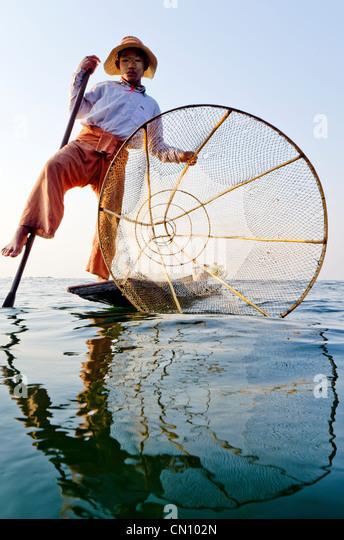 Traditional bamboo fisherman, Inle lake, Myanmar - Stock Image