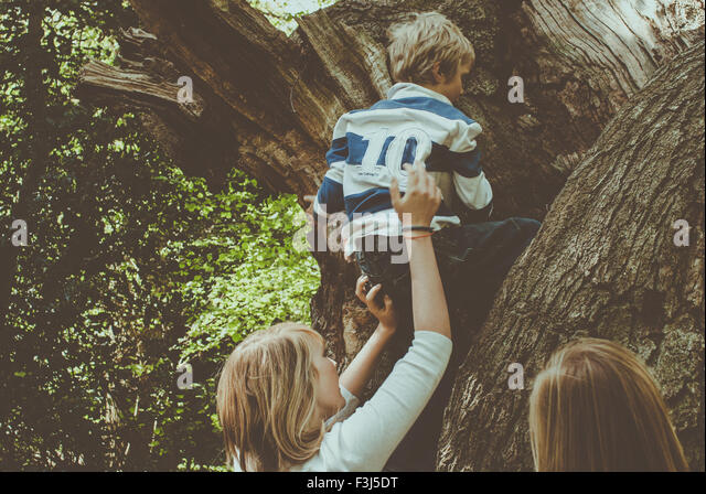 Kids helping each other up a tree - Stock Image