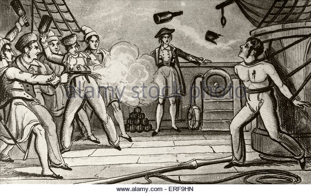 Massacre of Captain Skinner. Illustration, 19th century. - Stock Image