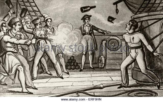 Massacre of Captain Skinner. Illustration, 19th century. - Stock Image