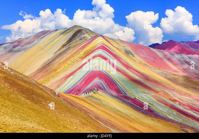 Vinicunca, Cusco Region, Peru. Montana de Siete Colores, or Rainbow Mountain. - Stock Image