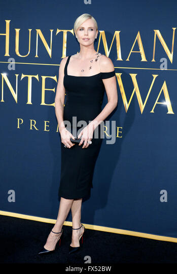 Los Angeles, California, USA. 11th Apr, 2016. Charlize Theron at the Los Angeles premiere of 'The Huntsman: - Stock Image