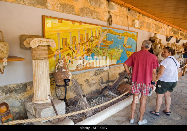 Tourists visiting Bodrum Underwater Archaeology Museum, Turkey. - Stock Image