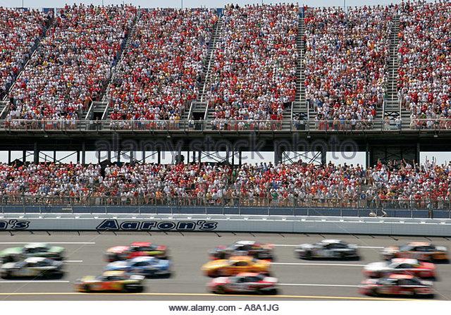 Talladega Alabama Superspeedway Aaron's 499 NASCAR Nextel Cup Series fans grandstands stock car race track - Stock Image