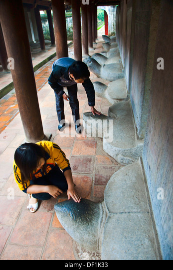 Memorial of some goods students of Van Mieu Literature Temple. Hanoi. Vietnam. - Stock Image