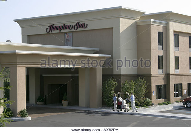 West Virginia Lewisburg Hampton Inn motel entrance - Stock Image