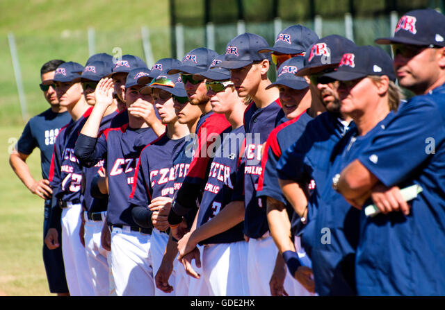 Gijon, Spain. 15th July, 2016. Czech players after the start of preliminary round of Baseball U18 European Championship - Stock Image