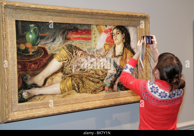 Washington DC National Gallery of Art West Building museum exhibition painting Auguste Renoir Odalisque 1870 woman - Stock Image