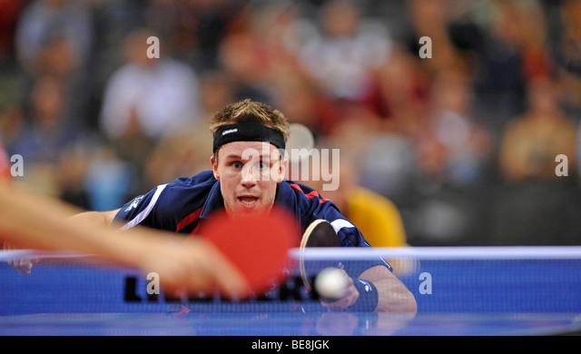 European champion Michael MAZE, Denmark, table tennis EM 2009, Porsche-Arena, Stuttgart, Baden-Wuerttemberg, Germany, - Stock Image