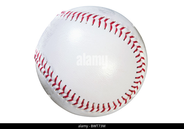 Photo of a baseball isolated on white background with clipping path done using pen tool. - Stock Image