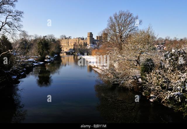 Warwick Castle Winter Snow - Stock Image