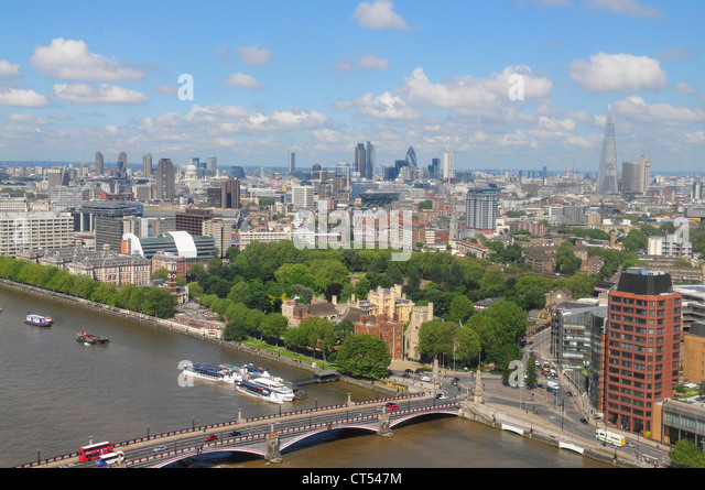 Skyline of London as seen from The Millbank Tower - Stock Image