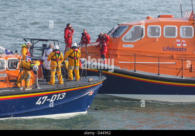 Moelfre, Isle of Anglesey, Wales, UK, Mon 4th March 2013. The vicar blesses the RNLI lifeboat crew and new £2.7 - Stock Image