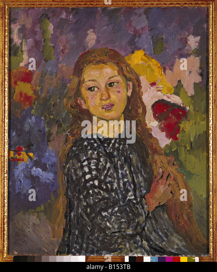 fine arts, Giacometti, Giovanni, (1868 - 1933), painting, 'portrait Ottilia Giocametti', 1912, oil on canvas, - Stock-Bilder