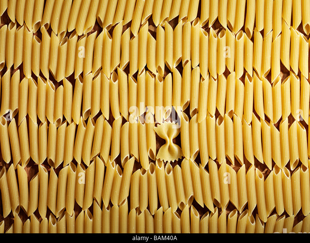 Farfalle and penne pasta - Stock Image