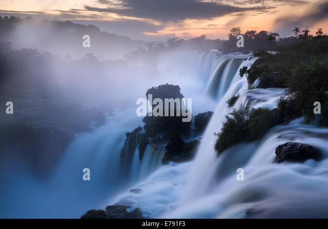 Iguazu Falls at dawn, Argentina - Stock Image